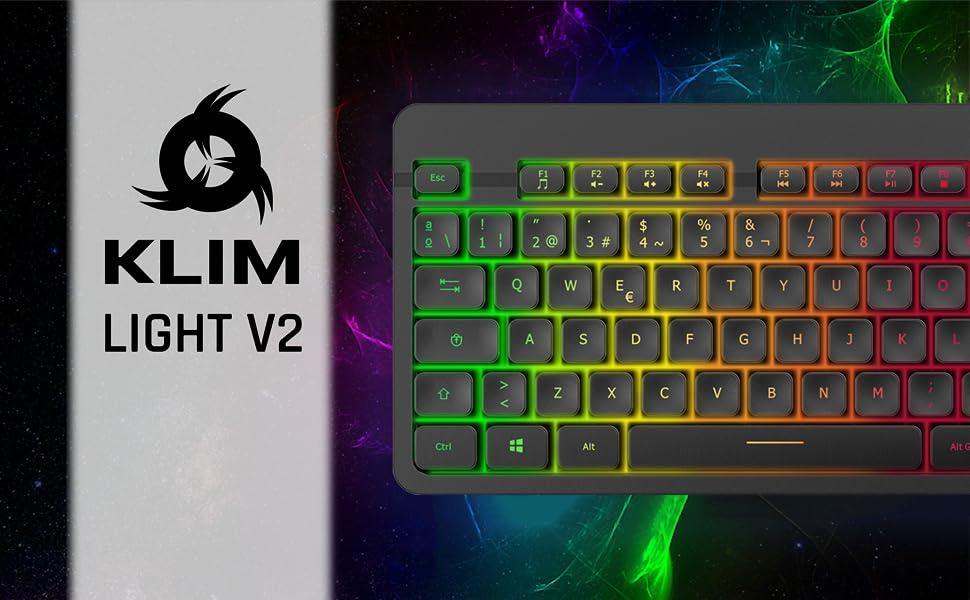 KLIM™ Light V2 Teclado Inalámbrico Gaming ESPAÑOL + Teclado Gaming Ligero, Duradero, Ergonómico, Silencioso + Batería de Larga duración + Teclado ...