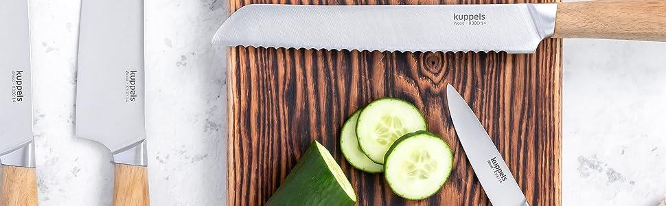 Couteau en bois d'acacia, grain individuel.