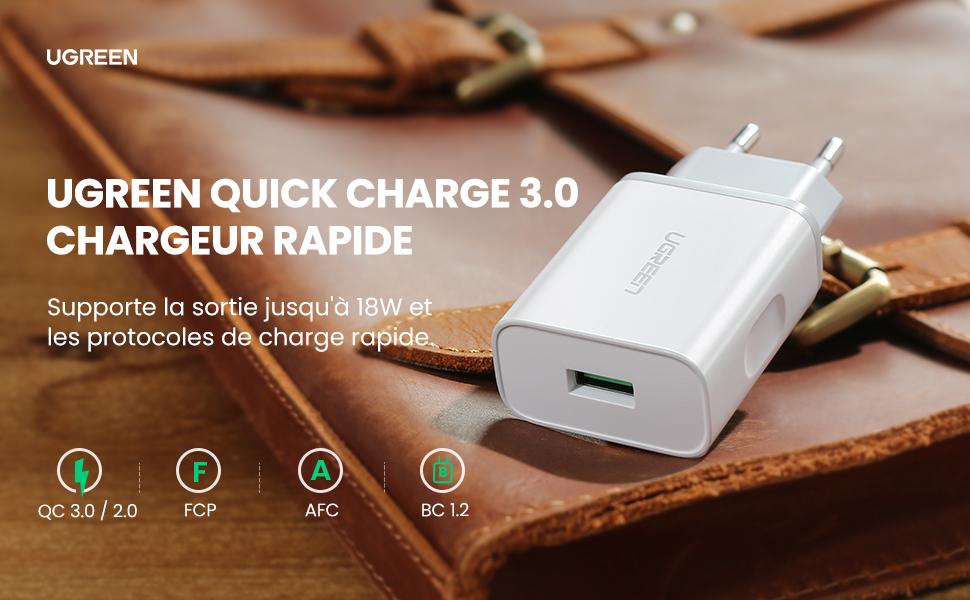 UGREEN Quick Charge 3.0 Chargeur Secteur USB Rapide 18W Puce