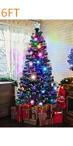 6 ft Pre-Lit Optical Fiber Christmas Artificial Tree