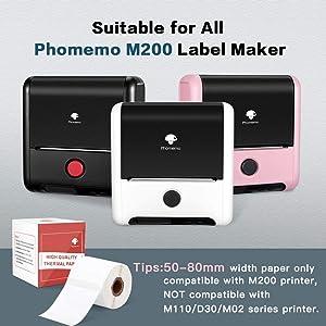 compatibile con la stampante di etichette Phommeo M200 Phomemo Carta termica continua per etichette 8 m//rotolo. 2 rotoli di carta termica continua 53 mm