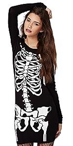 Women's Halloween Costume Skeleton Dress Long Sleeves Stretchy Short Mini Dress