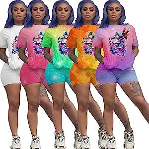 Fastkoala Women's 2 Pieces Outfits Clubwear Colorful Tie Dye
