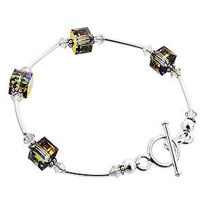 Sterling Silver Swarovski Elements Vitrail Crystal Bracelet Toggle Clasp