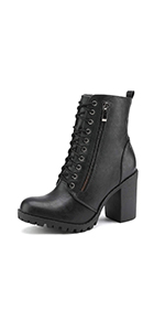 WOMEN HIGH HEEL ANKLE BOOTS WINTER FALL BOOTIES COMBAT LACE UP BOOT