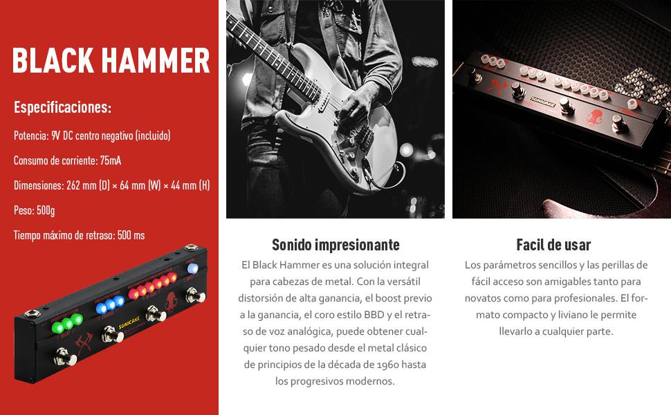 SONICAKE Pedal de Guitarra Black Hammer Multiefectos Heavy Metal Hi-Gain Distortion Boost Chorus Delay