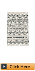 Large Cotton Area Rug Washable Hand Woven Cotton Area Rug with Fringe Tassel Cotton Throw Rugs