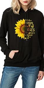 women's botanic flowers graphic prints sweatshirt cute sunflower hoodie casual pullover tops