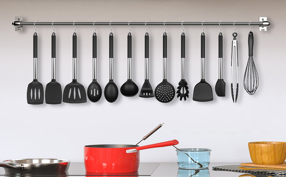 Kitchen Utensil Set 13 Cooking Utensils Silicone and Stainless Steel Turner Spatula Spoon Tongs