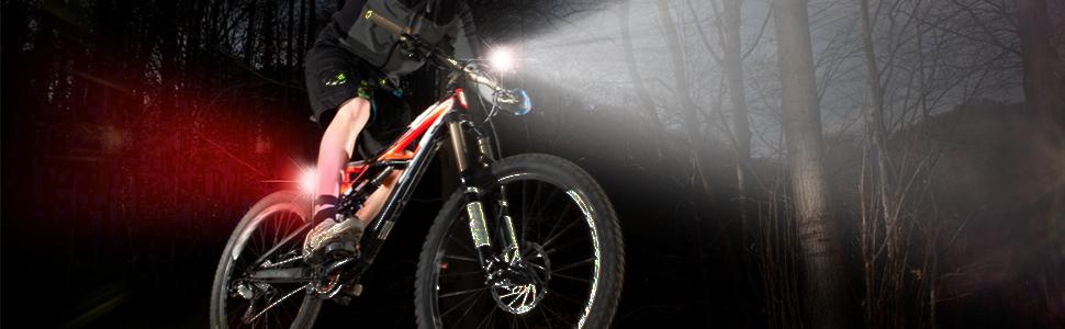 Nestling®Luz Bicicleta LED Recargable USB, 4 Modos 2400 Lúmenes ...