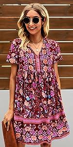 Summer Leopard Mini Dress V Neck Bohemia Swing Dress Sleeveless Flowy Loose Badydoll Dress