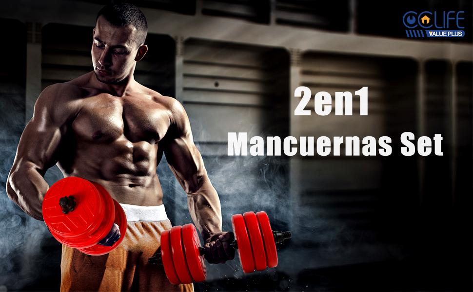 CCLIFE Mancuernas Ajustables con Pesas Barra y Discos 20/30 / 40KG ...
