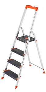 argent /échelle /à 3//4//5//6 marches avec pieds antid/érapants et poign/ée Cosway Escabeau pliable en aluminium capacit/é de charge jusqu/à 150 kg