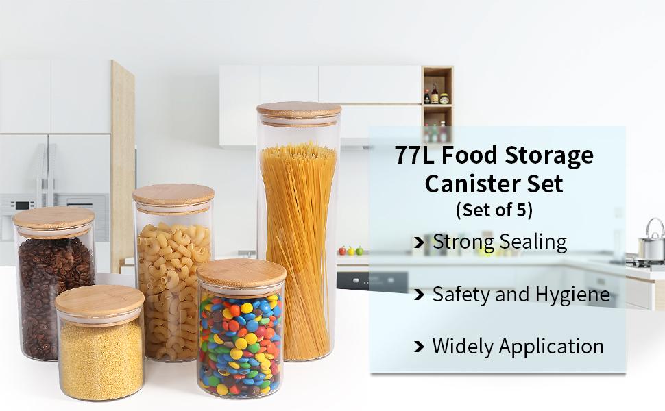 180ML nueces y m/ás 6.08 FL OZ Recipiente herm/ético de almacenamiento de alimentos con bolsa de almacenamiento y tapa de madera para especias,caf/é Negro 77L Tarro de almacenamiento de alimentos