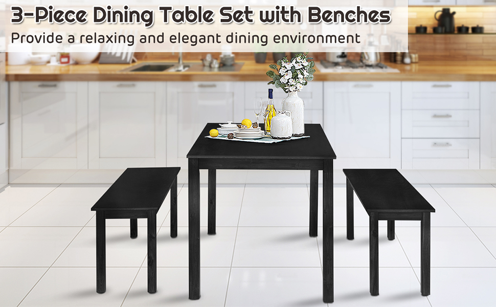 Wooden Bench Dining Table Set