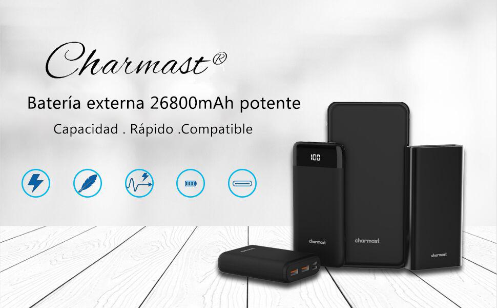 Charmast® 26800mAh Powerbank Batería Externa Delgado con 3 Entradas&4 Salidas USB/Tipo C para Nintendo Switch Nexus iPad iPhone Samsung Huawei BQ LG ...
