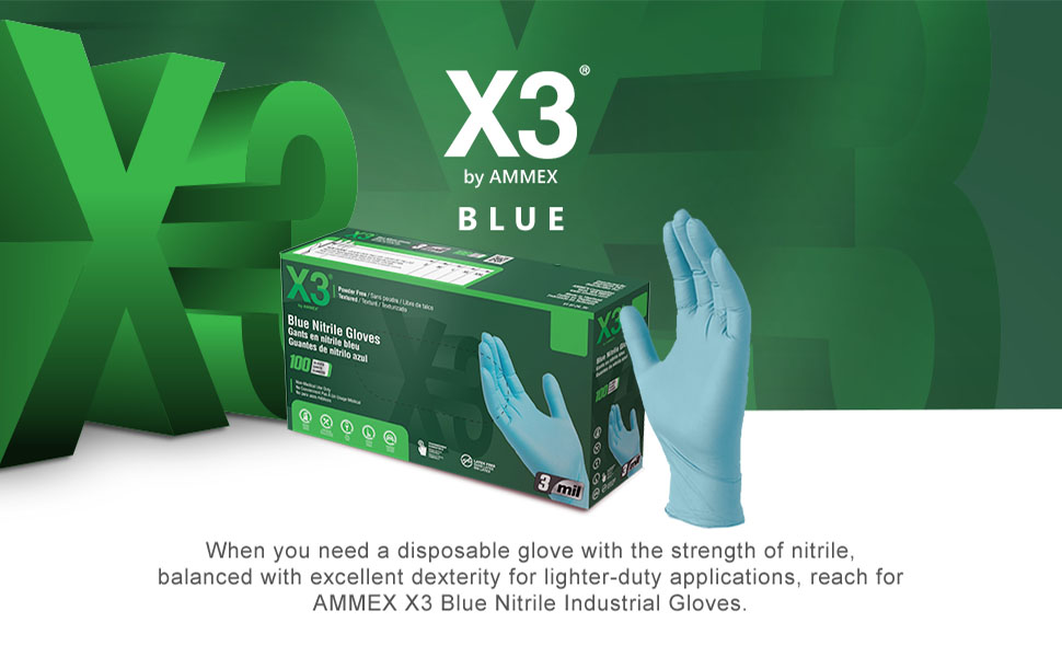 X3 Industrial Blue Nitrile 3 Mil Latex Free Powder Free Textured Disposable Gloves