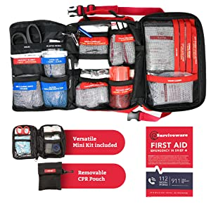 Internal Compartments of Large First Aid Kit by Surviveware for trucks and cars