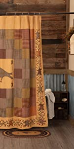 Heritage Farms Shower Curtain primitive country rustic Americana VHC Brands bath lined