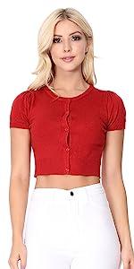 YEMAK Women's Cropped Bolero Button Down Short Sleeve Cardigan Sweater (S-L)