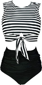 Tie Front Knot Tank Top Swimsuit