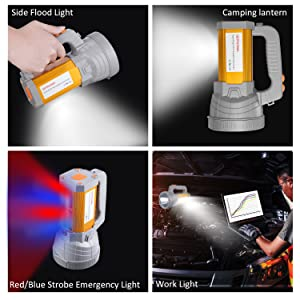 super bright high powered led spotlight flashlight searchlight rechargeable