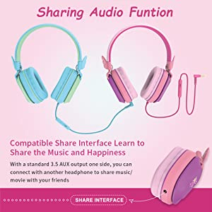 Kids Headphones with Sharing Function - Kids Headphones, Riwbox CS6 Lightweight Foldable Stereo Headphones Over Ear Corded Headset Sharing Function With Mic And Volume Control Compatible For IPad/iPhone/PC/Kindle/Tablet (Purple&Green)