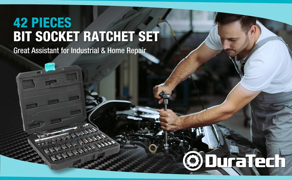 DURATECH 42-piece Bit Socket Ratchet Set