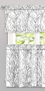 gray tree branch 3 piece kitchen valance 52*18+2*26*36