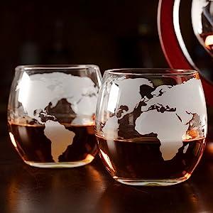 Globe Whiskey Decanter Map Gentlemen's gift Scotch Bourbon Rye 850ml 750lm 840ml Present
