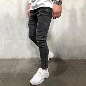 men designer tapered leg jean rip young torn cut vintage black regular fitted jogger hip hop teen