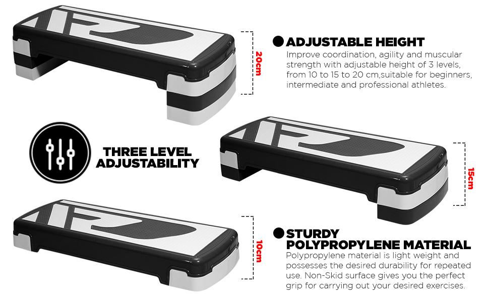 RDX Aerobic Step with 3 Adjustable