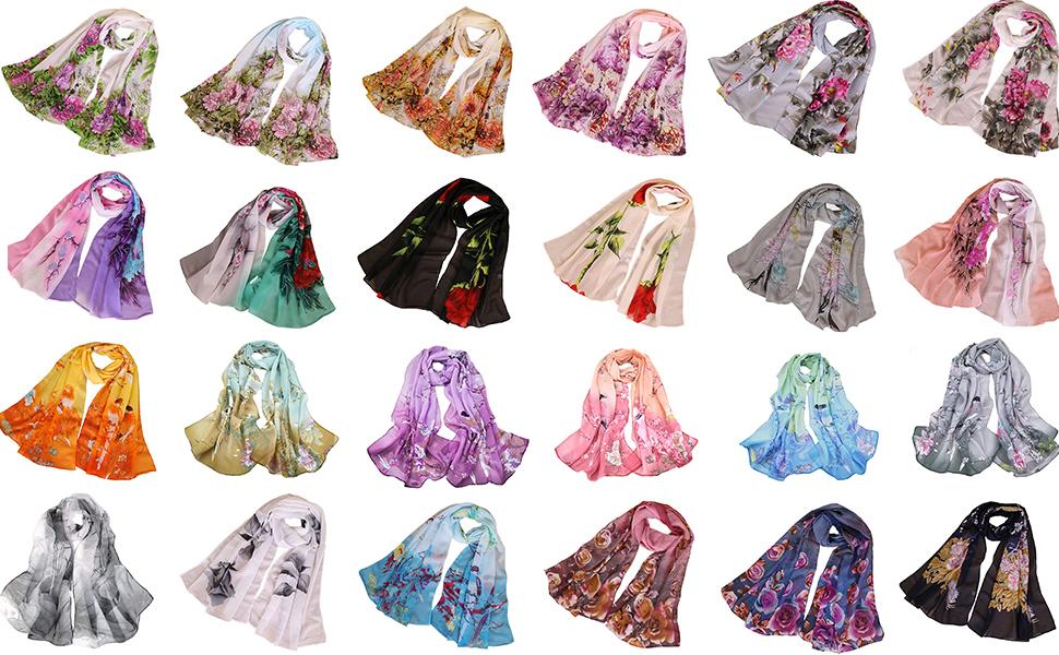 Chiffon printed scarf with flower women scarf floral scarves white flower sarfs cpmfprtable bird