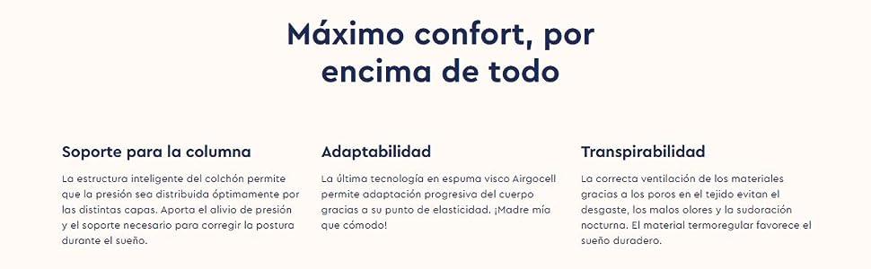 Emma Colchón 150x190 cm - Viscoelástico Premium - Transpirable, Adaptable, Color Blanco (Todas Las Medidas): Amazon.es: Hogar