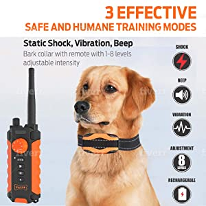 collar dog training shock remote waterproof rechargeable control pet barking electric train puppy