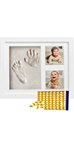 baby handprint kit clay frame with stamp date name picture photo new parent mom dad mother gift