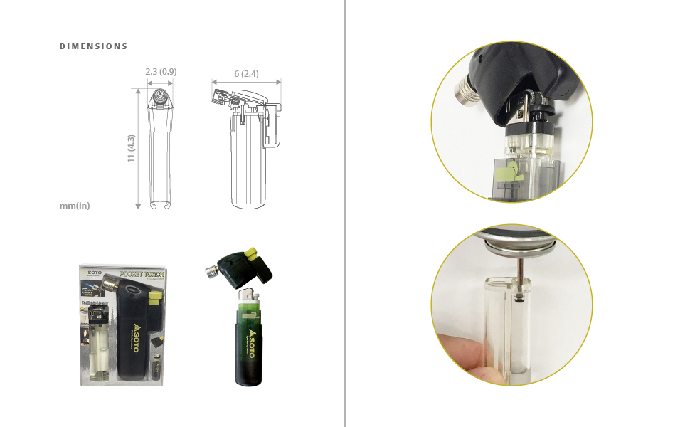 POCKET TORCH REFILLABLE LIGHTER KIT SET INCLUDES FUEL SMALL LIGHT