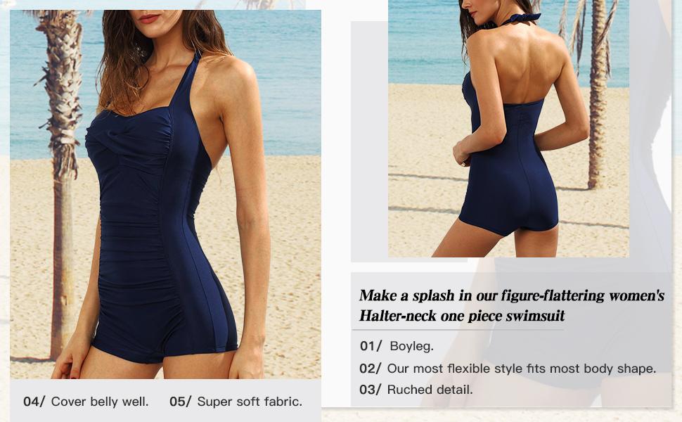 one piece halter boyleg swimsuit
