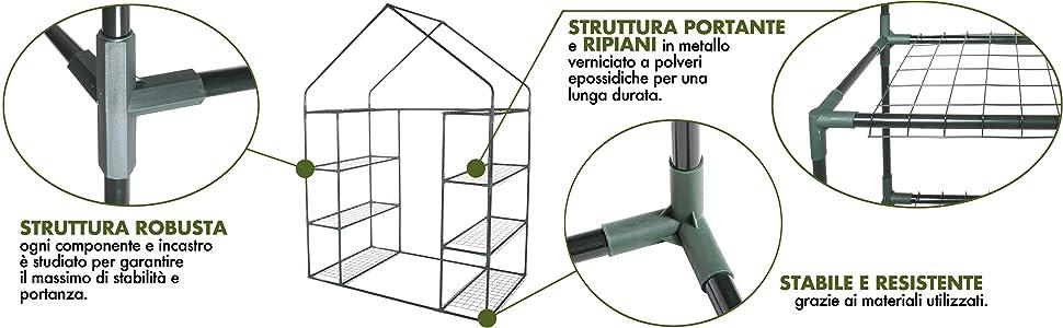 Verdelook, serra, casetta, 8 ripiani, giardino, orto, struttura, robusta, lunga durata, stabilità