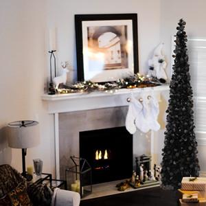 black tree christmas decorations