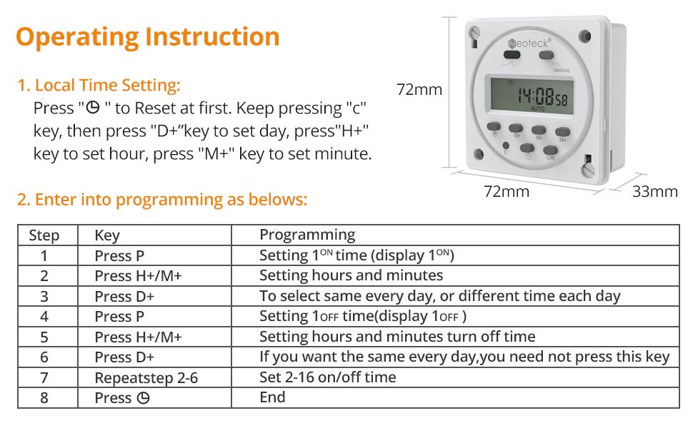 Noblik 12V minuterie programmable Digitale LCD 16A amp/ère