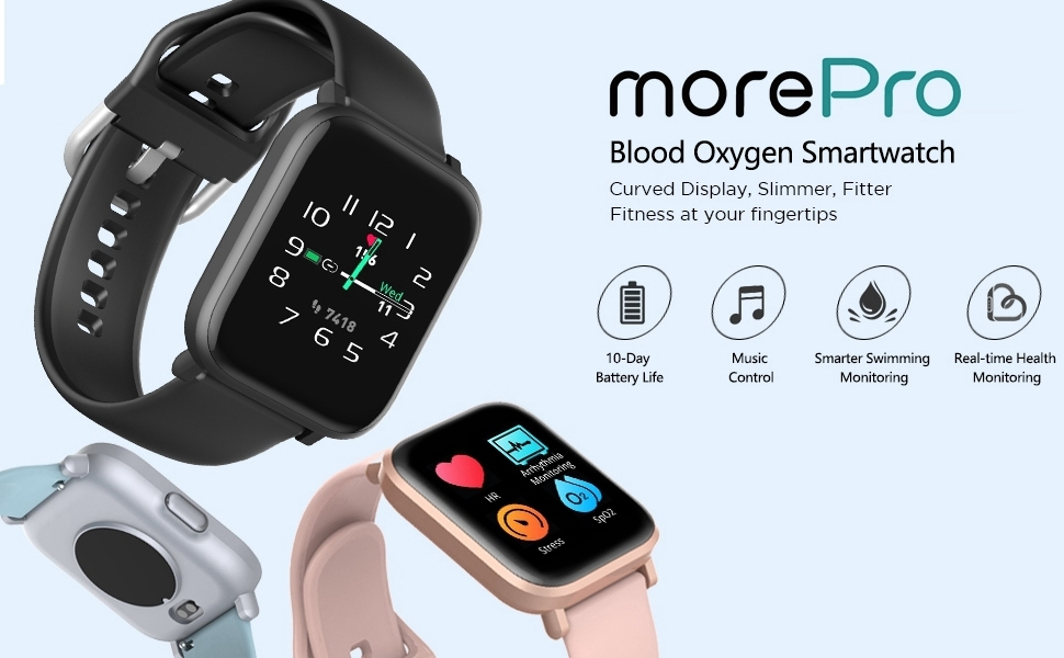 MorePro Smart Watch 18 Sport Modes Activity Tracker Heart Rate Fitness Watch