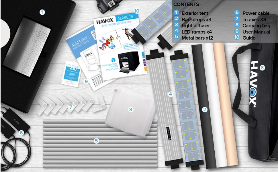 CREA Tus Fotos comerciales para tu Comercio electr/ónico Dimensi/ón 40x40x40cm Iluminaci/ón Regulable LED Luz de D/ía 5500k 26,000 l/úmenes Foto Estudio HPB-40XD CRI 93 HAVOX