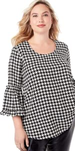 Plus Size Houndstooth Shirt