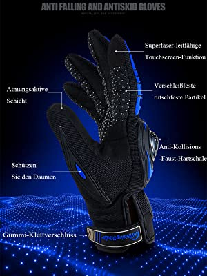 Alyphiin Motorradhandschuhe Anti-Rutsch Anti-Kollision Touchscreen Handschuhe Unisex Atmungsaktiv Warm Motorrad Handschuhe f/ür Motorradrennen MTB Fahrrad Outdoor Sportarten Handschuhe