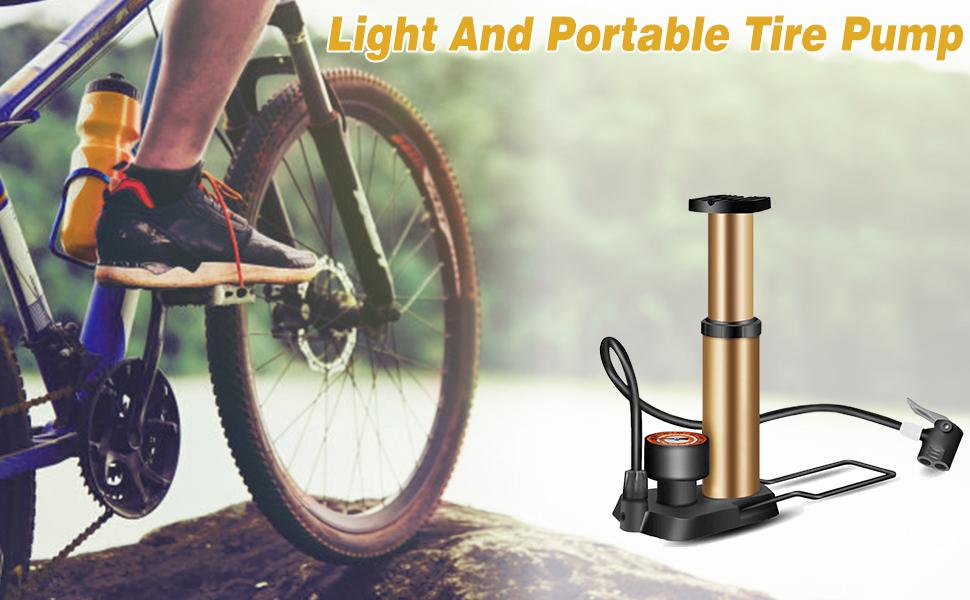 Portable Bicycle Pump Bicycle Bike Foot Pump Mini Portable High Pressure Floor Compact Mini Bicycle Tire Pump for Mountain Road Bikes