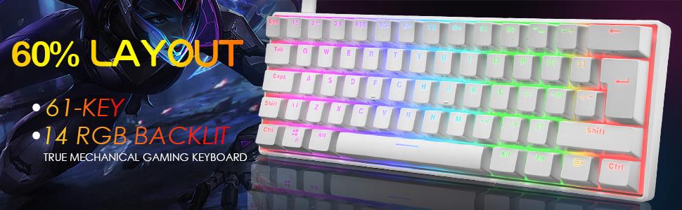 61 Key wired mechanical keyboard