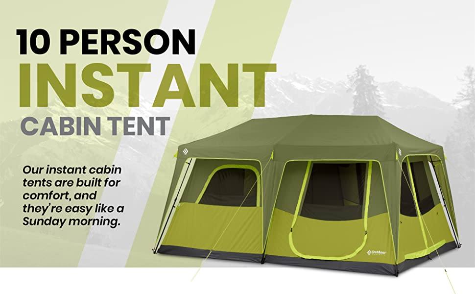 10 person instant cabin pop up tent easy set up camping tent all weather water proof floor tent
