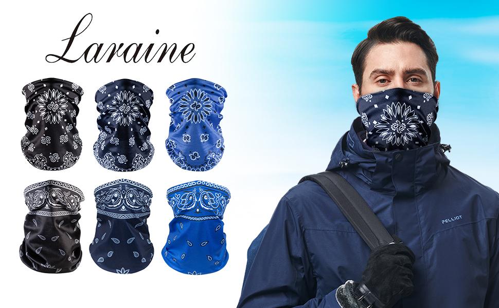 Laraine Face Bandanas Neck Gaiters for Men Women Dust Scarf Balaclava Headbands