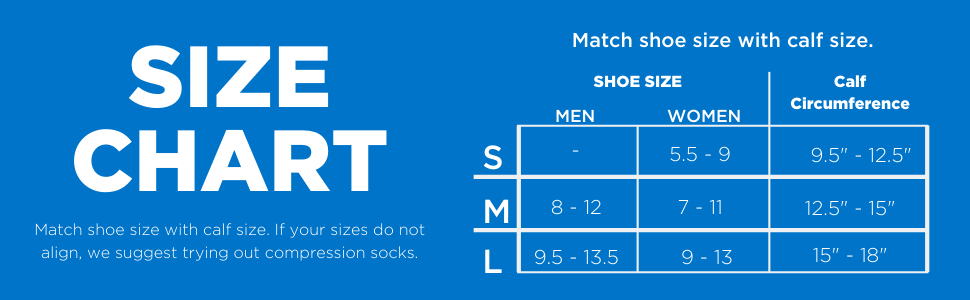 Size Guide for the Zensah Ankle/Calf Compression Sleeve